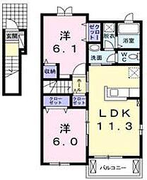 ロイヤル オーク B[2階]の間取り