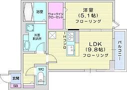 JR仙山線 東照宮駅 徒歩6分の賃貸アパート 1階1LDKの間取り
