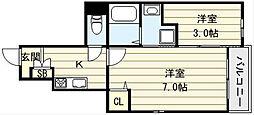 大阪府大阪市生野区巽北4丁目の賃貸アパートの間取り