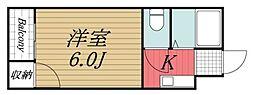 京成本線 京成佐倉駅 徒歩20分の賃貸アパート 2階1Kの間取り