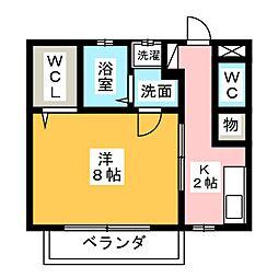 愛知県名古屋市名東区植園町1丁目の賃貸アパートの間取り