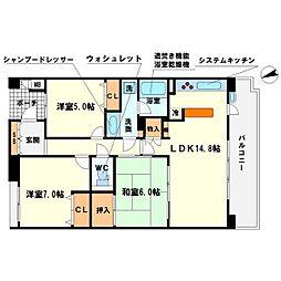 新千里桜ヶ丘メゾンシティ壱番館[5階]の間取り