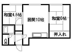 北海道札幌市清田区真栄一条2丁目の賃貸アパートの間取り