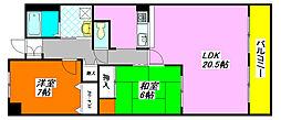 ベルビュー 60B号室[6階]の間取り