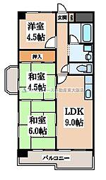 野崎スカイハイツ[7階]の間取り