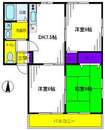 東京都国立市青柳1丁目の賃貸アパートの間取り