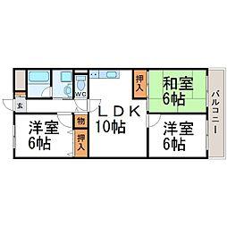 猪名川エクセルハイツ[3階]の間取り
