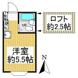 東京都青梅市東青梅2丁目の賃貸アパートの間取り