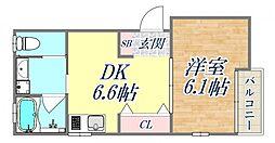 ガーデンヒルズ3 3階1DKの間取り