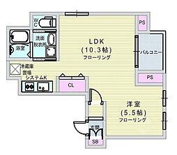 Osaka Metro長堀鶴見緑地線 西大橋駅 徒歩5分の賃貸マンション 2階1LDKの間取り