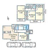 建物参考プラン:間取り/4LDK、延床面積/94.60m2、土地建物参考価格/8080万円(税込)