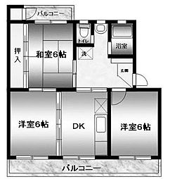 ハイツ広田[202号室]の間取り