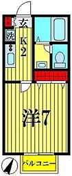 埼玉県越谷市赤山町1の賃貸アパートの間取り