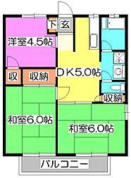 東京都清瀬市野塩5丁目の賃貸アパートの間取り