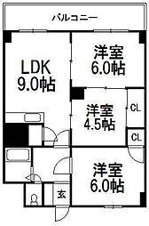 北海道札幌市豊平区豊平八条13丁目の賃貸マンションの間取り