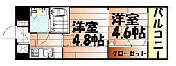No.47 PROJECT2100小倉駅[406号室]の間取り