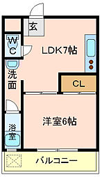 ローズハイツ東本[213号室]の間取り