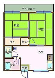 富美山コーポ那須[203号室]の間取り