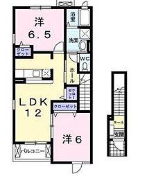 シャトー・シモハタ1[2階]の間取り