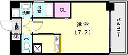 神戸市西神・山手線 新長田駅 徒歩3分の賃貸マンション 10階ワンルームの間取り