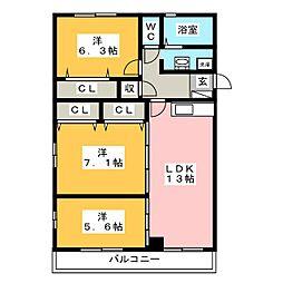 進藤コーポ[4階]の間取り