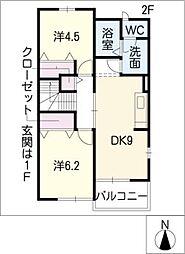 ルルススB棟[2階]の間取り