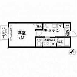 東京都目黒区目黒1丁目の賃貸アパートの間取り