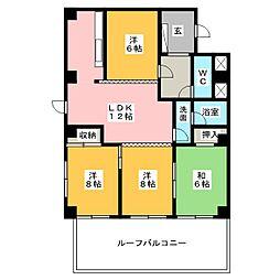 三旺マンション覚王山A 401[4階]の間取り