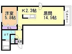 フィーノW-Four 1階1LDKの間取り