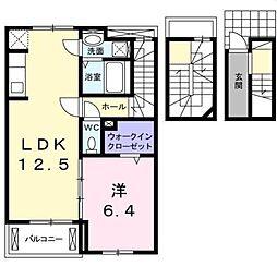 広島県福山市三吉町2丁目の賃貸アパートの間取り