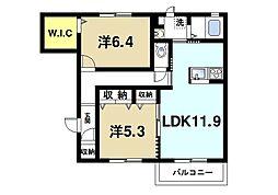 シャーメゾン二階堂 2階2LDKの間取り
