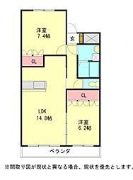 愛知県一宮市丹羽字北屋敷の賃貸マンションの間取り