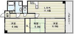 ハイツ中村III[5階]の間取り