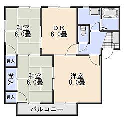 広島県広島市安佐南区西原4丁目の賃貸アパートの間取り