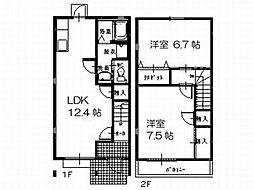 ルミエール B棟 2階2LDKの間取り
