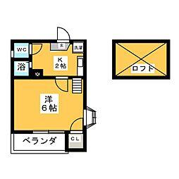愛知県名古屋市中区大須1の賃貸アパートの間取り