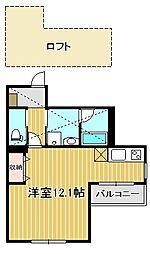 東急東横線 武蔵小杉駅 徒歩7分の賃貸マンション 3階ワンルームの間取り