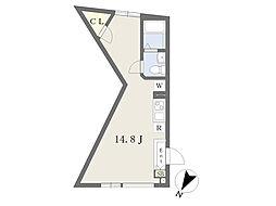 東京メトロ南北線 東大前駅 徒歩4分の賃貸マンション 3階ワンルームの間取り