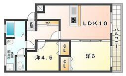シャトー松原B棟[4階]の間取り