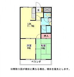 愛知県一宮市今伊勢町宮後字芝野の賃貸マンションの間取り
