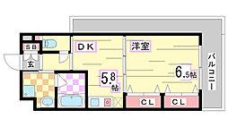 兵庫県神戸市須磨区東町2丁目の賃貸マンションの間取り
