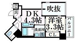 THE GRID北野坂 6階1DKの間取り