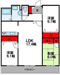 福岡県飯塚市立岩の賃貸マンションの間取り