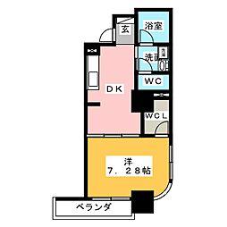 静岡常磐町エンブルコート 3階1DKの間取り