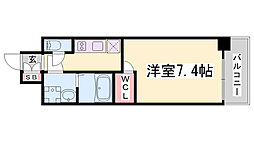 ワールドアイ神戸ハーバーランド 3階1Kの間取り