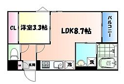 JR仙山線 東照宮駅 徒歩12分の賃貸アパート 3階1LDKの間取り