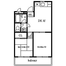 煉瓦館 53[3階]の間取り