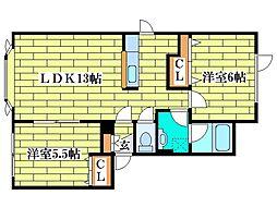 レーヴMSK[2階]の間取り