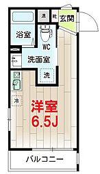 リチェンシア横浜三ツ沢下町 5階ワンルームの間取り