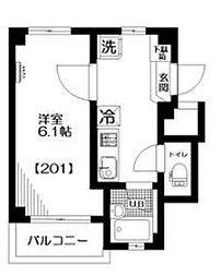 クレール東中野[2階]の間取り